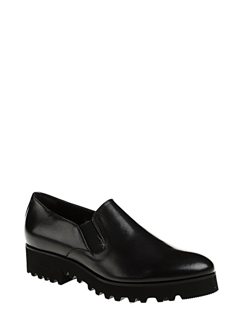 Divarese Bağcıksız Deri Ayakkabı Siyah